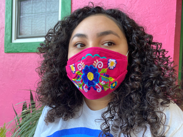 Pink Floral Mexican Face Mask - M34