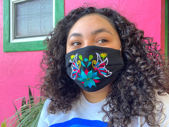 Black Floral Mexican Face Mask - M35