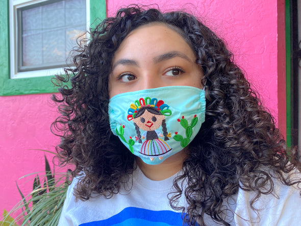 Light Blue Mexican Doll Mexican Face Mask - M40