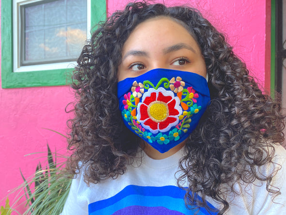 Dark Blue Floral Mexican Face Mask - M41
