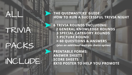 Sample quiz and ALL Trivia packs include: The Quizmasters' Guide: How to Run a Successful Trivia Night. 6 trivia rounds including: 2 general knowledge rounds + 3 special category rounds + 1 picture round = 60 questions & answers (plus an additional multiple choice option.) Printable Forms: Answer sheets, Score sheets, 8X10 poster to help you promote!