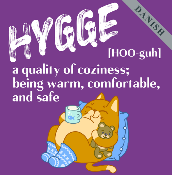 Hygge (Danish) A quality of coziness; being warm, comfortable,  and safe.