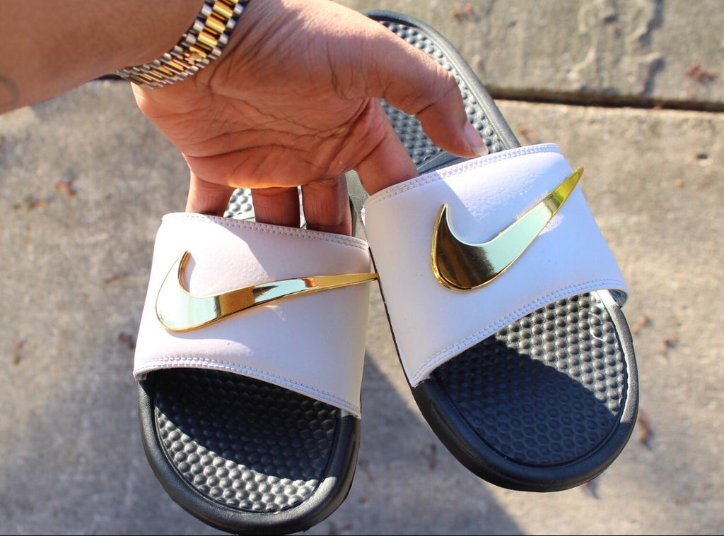 reputable site 90162 dbc65 new style gold and white nike slippers 69f49 355a7