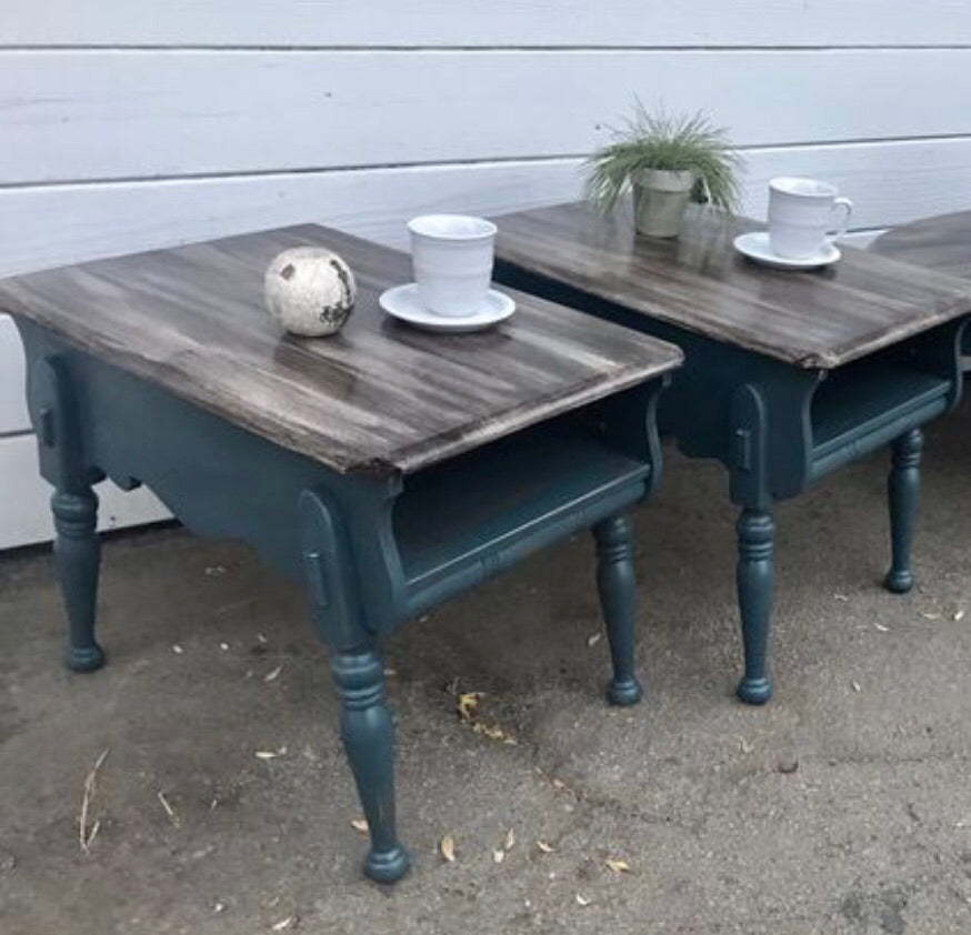 Rustic Farmhouse Side Table Set Just Refinished Solid Wood