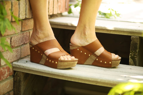 Leather Strapped Wedges