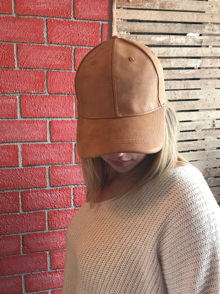 Tan Faux Leather Hat