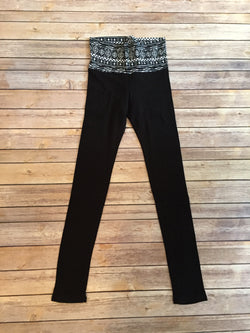 Black Leggings with White Tribal Pattern
