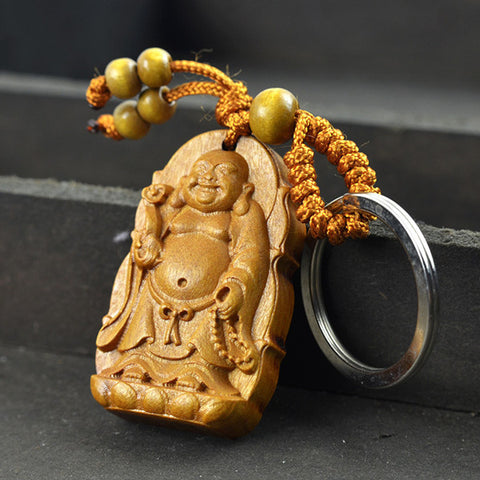 High quality rosewood carved wishful Lucky Buddha keychain