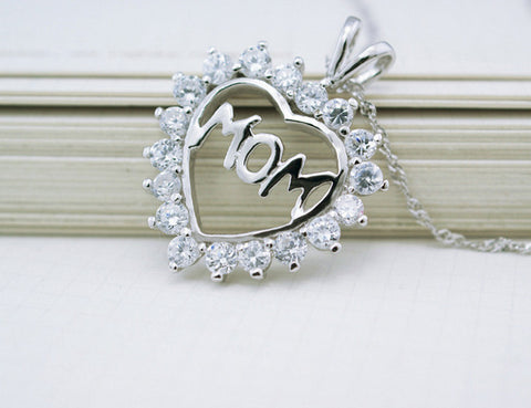"Beautiful, Heart Crystal ""MOM"" Logo Pendant, for LOVE"