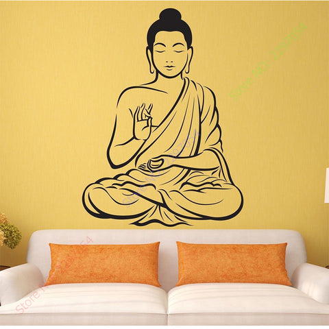 Buddha Vinyl Wall sticker,Yoga, Meditating, India, Asian, Spiritual Awakened One home decor
