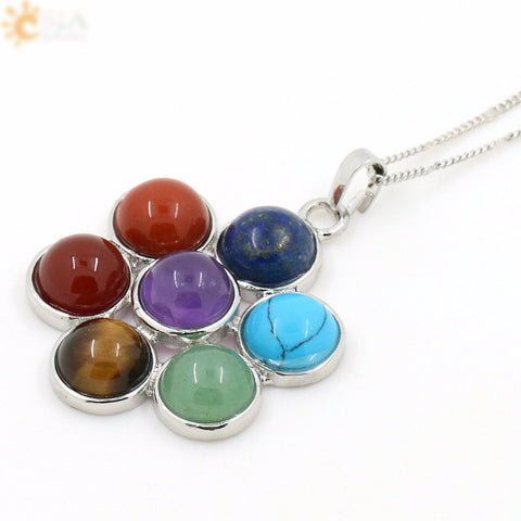 7 Chakra Natural Stones, Flower of Life Pendant Necklace, Yoga, Reiki, Healing
