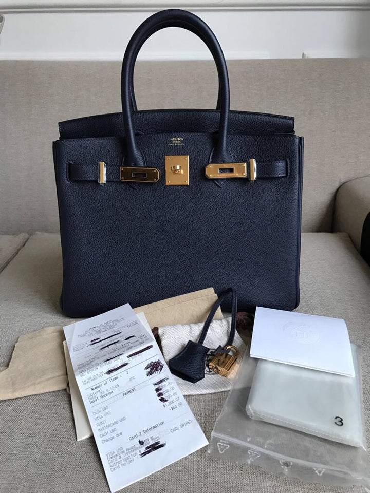 Hermès Birkin 30 Bleu Nuit Togo Gold Hardware GHW X Stamp 2016 <!18967751> - The French Hunter