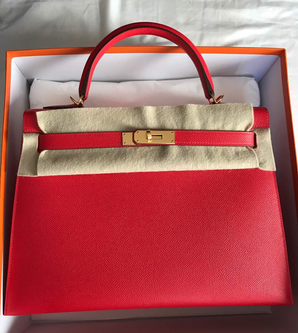 Hermès Kelly 32 Rouge Tomate Sellier Epsom Gold Hardware GHW A Stamp 2017 <!19048180> - The French Hunter