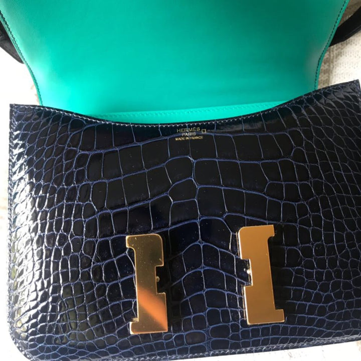 Hermès Constance Limited Edition 24 Bleu Saphir/Bleu Paon Verso Alligator Mississippi Lisse Gold Hardware GHW C Stamp 2018 <!27769268> <!SOLD> <!SOLD> - The French Hunter