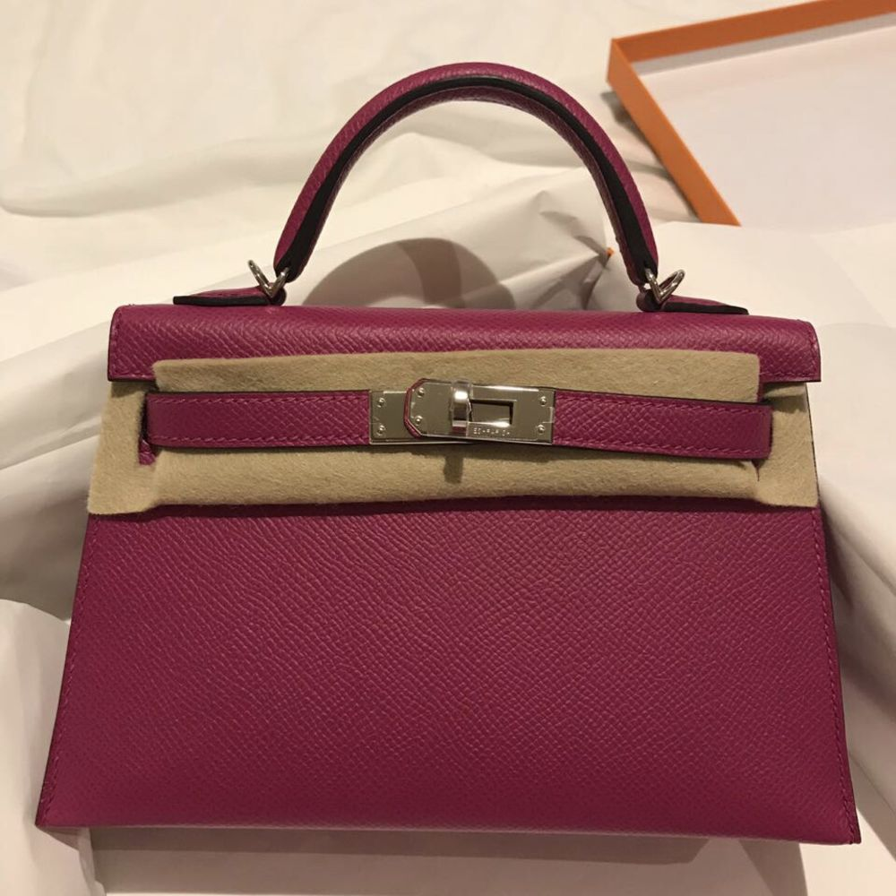 Hermès Kelly 20 Rose Pourpre Sellier Epsom Palladium Hardware PHW C Stamp 2018 <!27818751> <!SOLD> <!SOLD> - The French Hunter