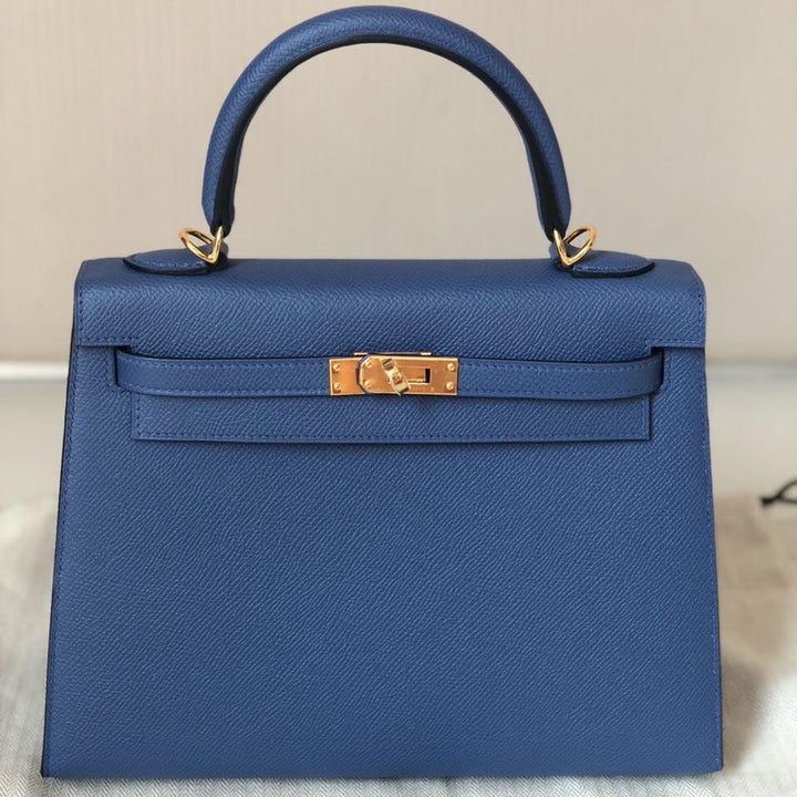 Hermès Kelly 25 Bleu Brighton Sellier Epsom Gold Hardware GHW C Stamp 2018 <!27847112> <!SOLD> <!SOLD> - The French Hunter