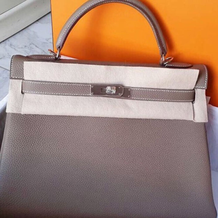 Hermès Kelly 32 Etoupe Togo Palladium Hardware PHW A Stamp 2017 <!27847438> - The French Hunter