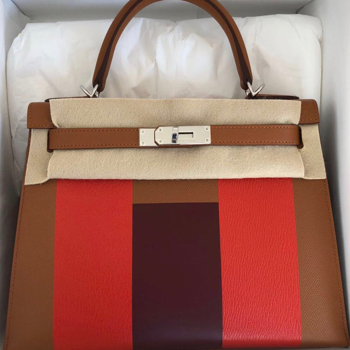 Hermès Kelly Limited Edition 28 Gold/Capucine/Rouge H Lettre H Epsom Palladium Hardware PHW C Stamp 2018 <!27962588> - The French Hunter