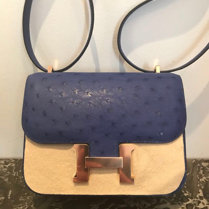 Hermès Constance 18 Bleu Iris Ostrich Rose Gold Hardware RGHW C Stamp 2018 <!27962918> <!SOLD> <!SOLD> - The French Hunter