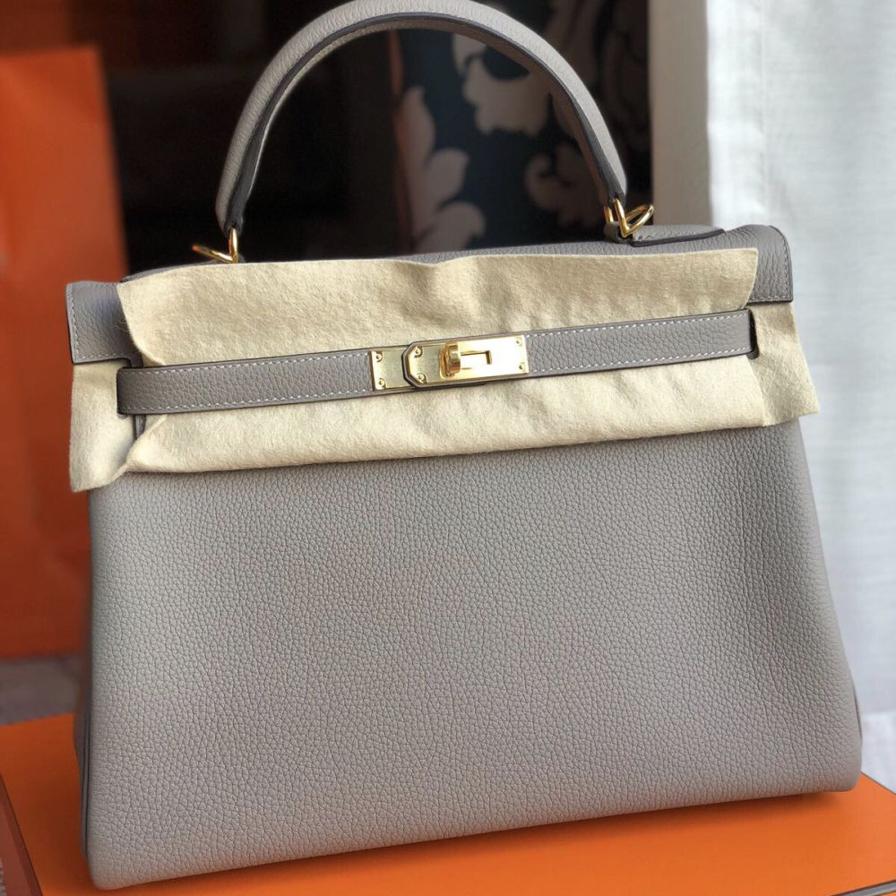 Hermès Kelly 32 Gris Asphalte Togo Gold Hardware GHW C Stamp 2018 <!27987831> <!SOLD> <!SOLD> <!SOLD> <!SOLD> - The French Hunter
