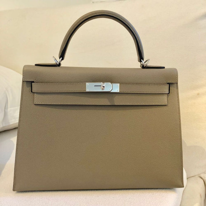 Hermès Kelly 32 Gris Asphalte Sellier Epsom Palladium Hardware PHW C Stamp 2018 <!28084992> <!SOLD> <!SOLD> <!SOLD> <!SOLD> - The French Hunter