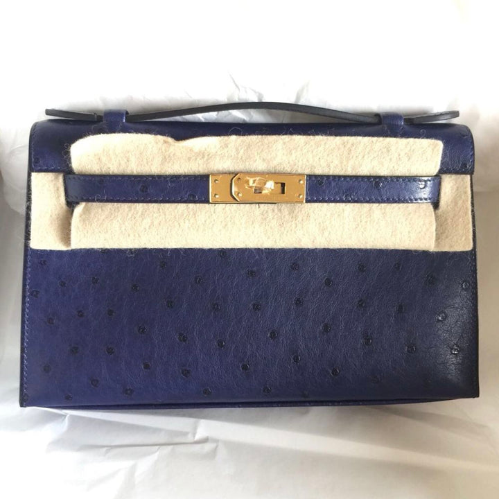 Hermès Kelly Pochette Bleu Iris Ostrich Gold Hardware GHW A Stamp 2017 <!28183725> - The French Hunter