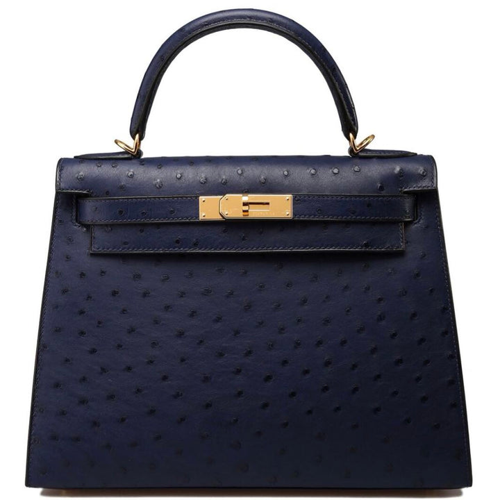 Hermès Kelly 25 Bleu Iris Sellier Ostrich Gold Hardware GHW C Stamp 2018 <!28212020> <!SOLD> - The French Hunter