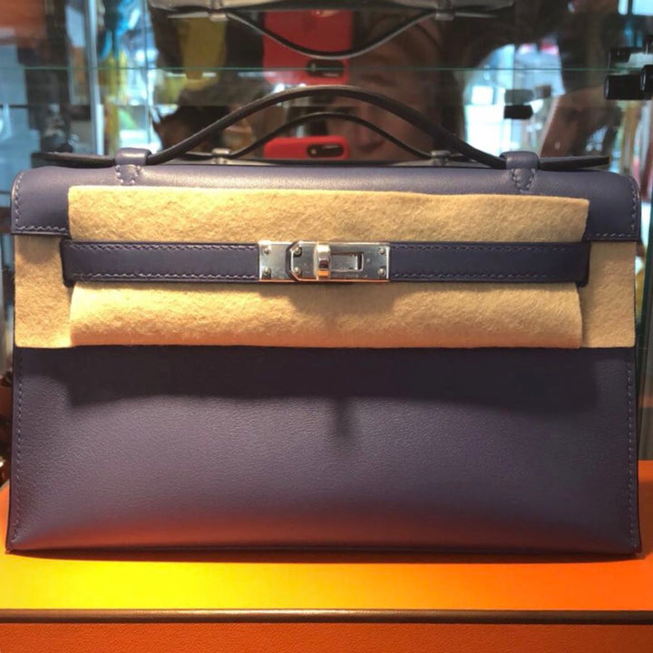 Hermès Kelly Pochette Bleu Brighton Swift Palladium Hardware PHW C Stamp 2018 <!28308239> <!SOLD> <!SOLD> - The French Hunter