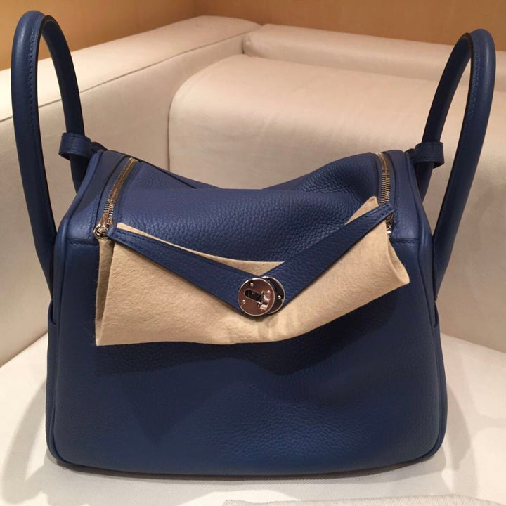 Hermès Lindy 30 Bleu Agate/Gris Mouette Verso Clemence Palladium Hardware PHW A Stamp 2017 <!28310114> - The French Hunter