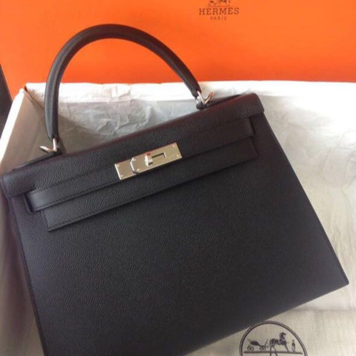 Hermès Kelly 25 Noir (Black) Sellier Epsom Palladium Hardware PHW A Stamp 2017 <!28337965> <!SOLD> <!SOLD> - The French Hunter