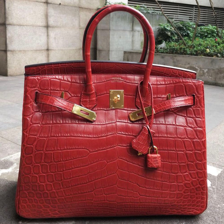 Hermès Birkin 35 Rouge H Crocodile Niloticus Matte Gold Hardware GHW Q Stamp 2012 <!28340892> <!SOLD> <!SOLD> - The French Hunter