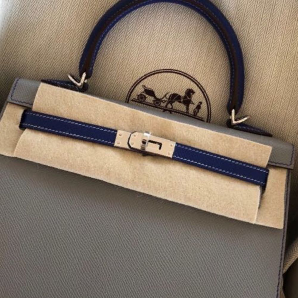 Hermès Kelly HSS 25 Gris Mouette/Bleu Electrique Sellier Epsom Palladium Hardware PHW C Stamp 2018 <!28345563> <!SOLD> <!SOLD> - The French Hunter