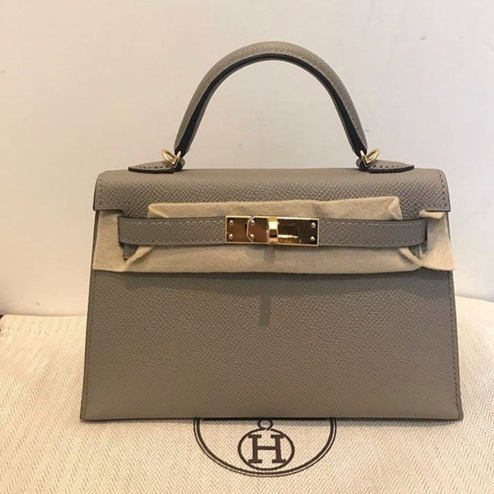 Hermès Kelly 20 Gris Asphalte Sellier Epsom Gold Hardware GHW A Stamp 2017 <!28363847> - The French Hunter