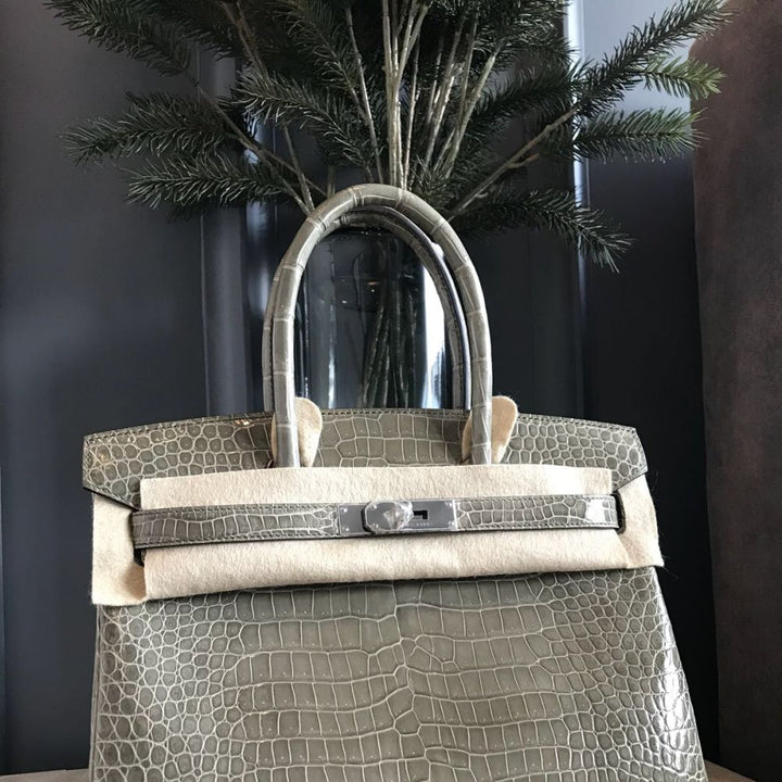 Hermès Birkin 30 Gris Tourterelle Crocodile Porosus Lisse Palladium Hardware PHW A Stamp 2017 <!28367959> - The French Hunter