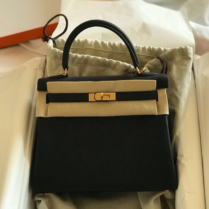 Hermès Kelly 25 Noir (Black) Togo Rose Gold Hardware RGHW C Stamp 2018 <!28378176> <!SOLD> <!SOLD> - The French Hunter