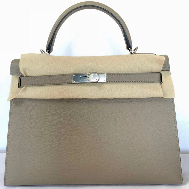 Hermès Kelly 32 Gris Asphalte Sellier Epsom Palladium Hardware PHW C Stamp 2018 <!28434598> - The French Hunter