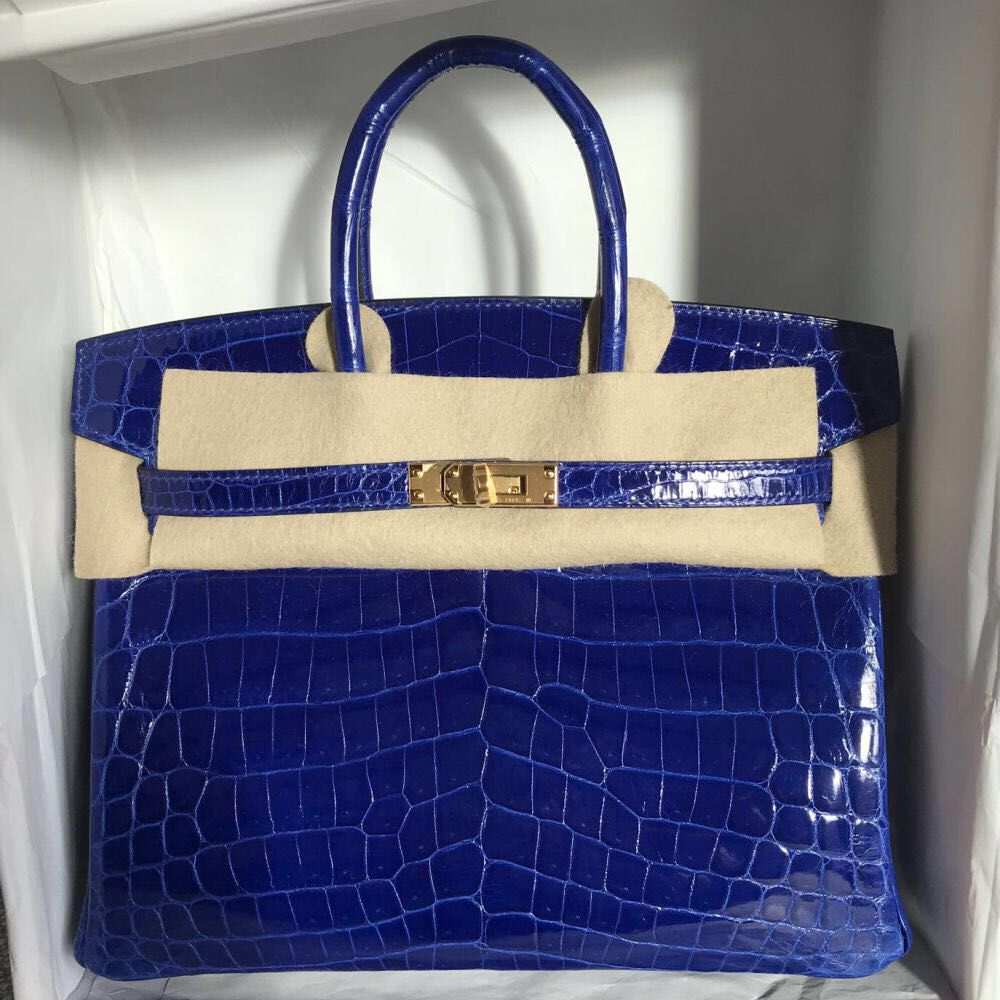Hermès Birkin 25 Bleu Electrique Crocodile Niloticus Lisse Gold Hardware GHW A Stamp 2017 <!28484503> - The French Hunter