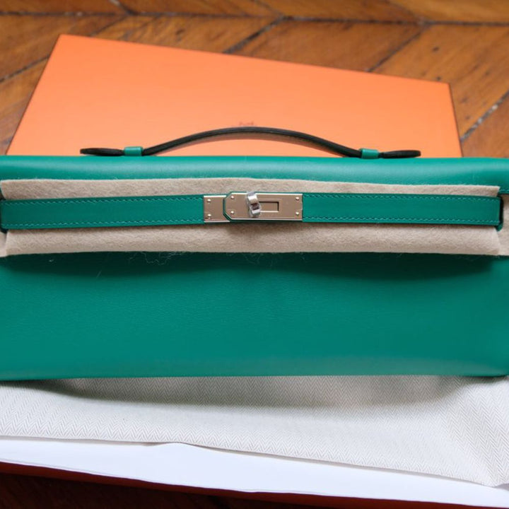 Hermès Kelly Cut Vert Vertigo Swift Palladium Hardware PHW A Stamp 2017 <!28540045> - The French Hunter