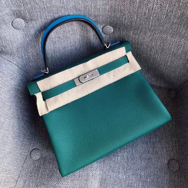 Hermès Kelly Limited Edition 28 Malachite/Noir (Black)/Bleu Zanzibar Au pas Togo Palladium Hardware PHW A Stamp 2017 <!28714346> - The French Hunter
