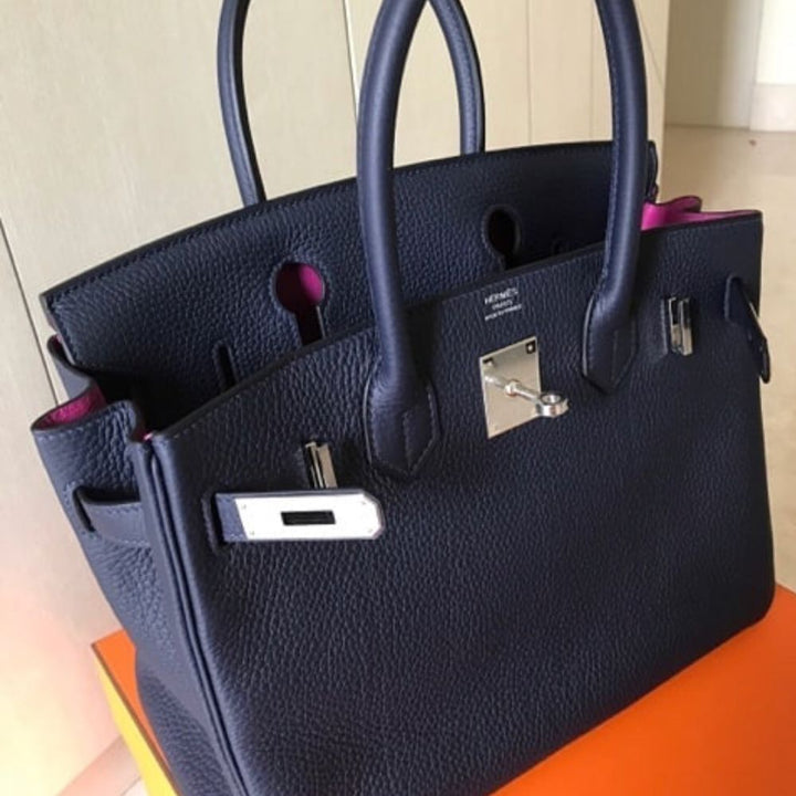 Hermès Birkin Limited Edition 30 Bleu Nuit/Rose Pourpre Verso Clemence Palladium Hardware PHW A Stamp 2017 <!28840050> - The French Hunter