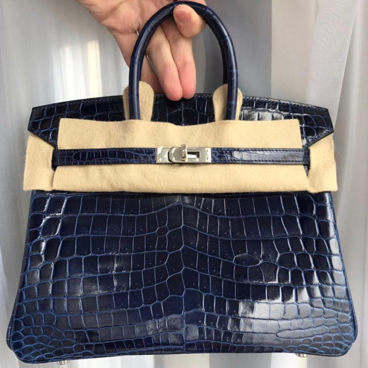 Hermès Birkin 25 Bleu Saphir Crocodile Niloticus Lisse Palladium Hardware PHW A Stamp 2017 <!29017546> - The French Hunter