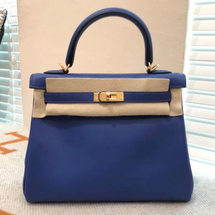 Hermès Kelly 25 Bleu Electrique Swift Gold Hardware GHW C Stamp 2018 <!29018012> - The French Hunter