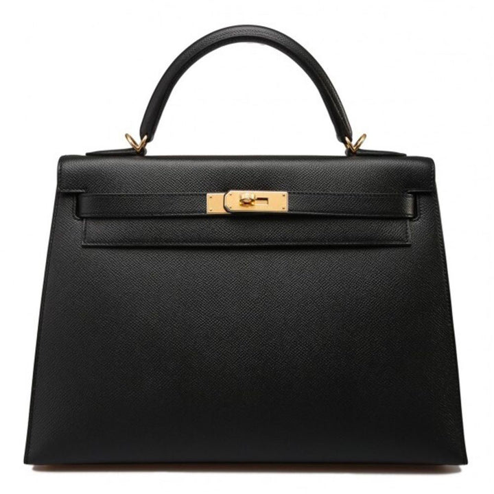 Hermès Kelly 32 Noir (Black) Sellier Epsom Gold Hardware GHW C Stamp 2018 <!29195804> - The French Hunter