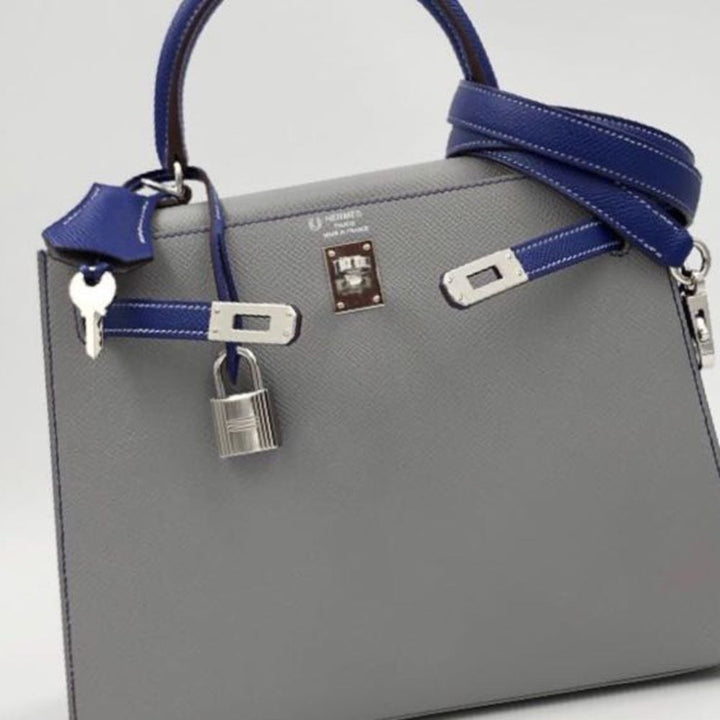 Hermès Kelly HSS 25 Gris Mouette/Bleu Electrique Sellier Epsom Palladium Hardware PHW A Stamp 2017 <!29199881> <!SOLD> - The French Hunter