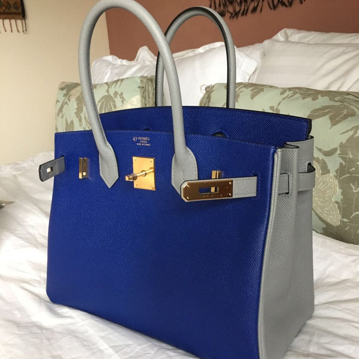 Hermès Birkin HSS 30 Bleu Electrique/Gris Mouette Epsom Gold Hardware GHW C Stamp 2018 <!29368489> <!SOLD> <!SOLD> - The French Hunter