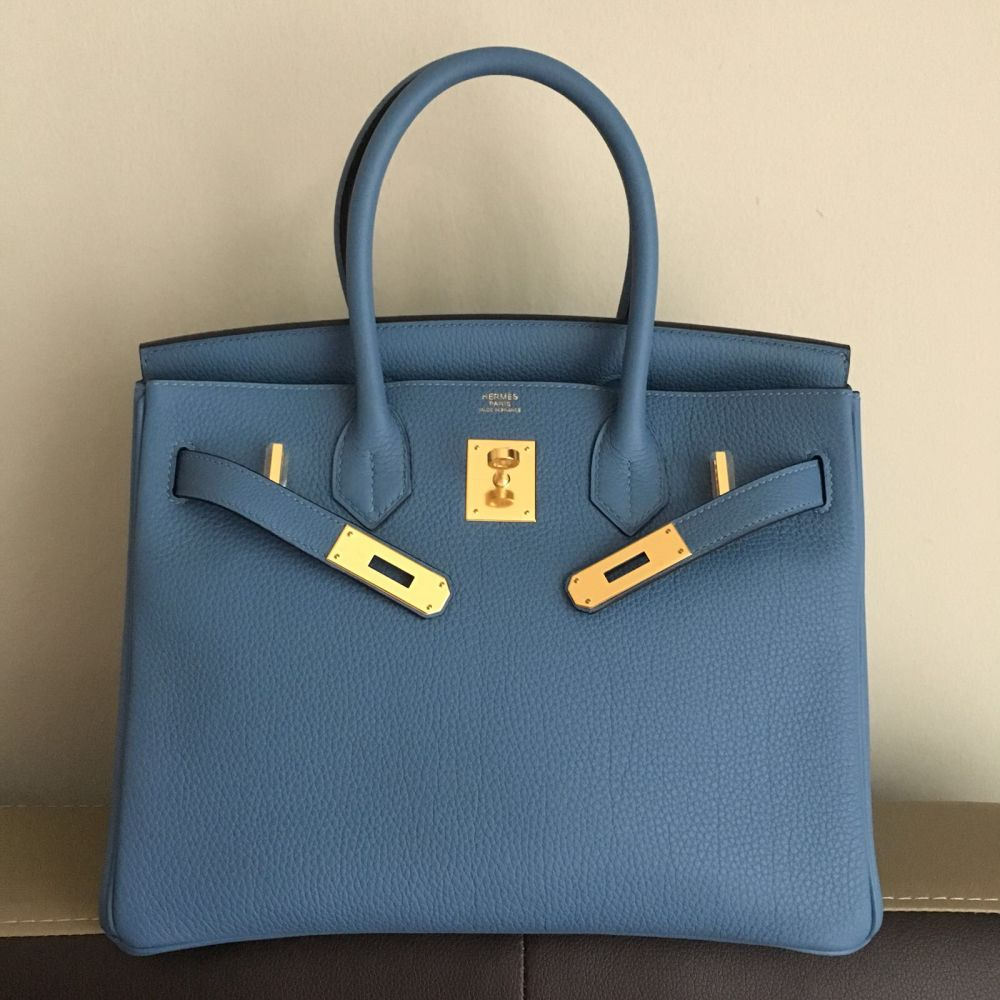 Hermès Birkin 30 Bleu Azur Togo Gold Hardware GHW C Stamp 2018 <!29386811> <!SOLD> <!SOLD> - The French Hunter