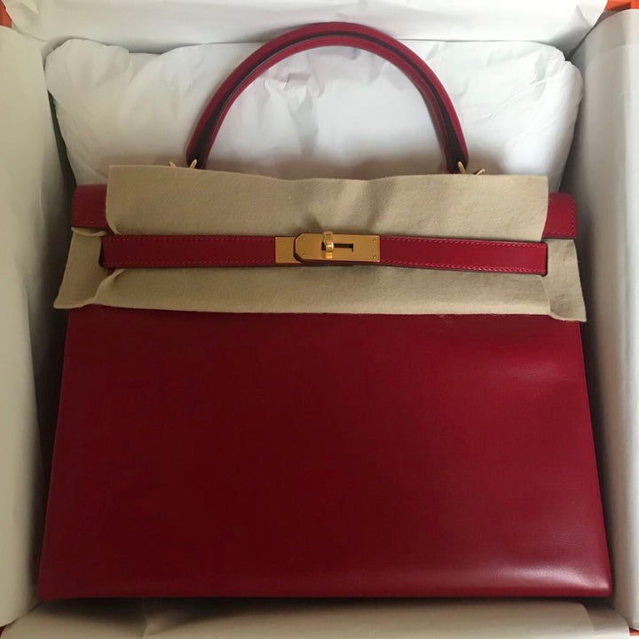 Hermès Kelly 32 Rouge Vif Tadelakt Gold Hardware GHW A Stamp 2017 <!29400319> - The French Hunter