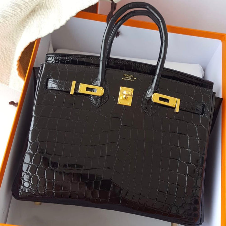 Hermès Birkin 25 Noir (Black) Crocodile Niloticus Lisse Gold Hardware GHW C Stamp 2018 <!29448211> - The French Hunter