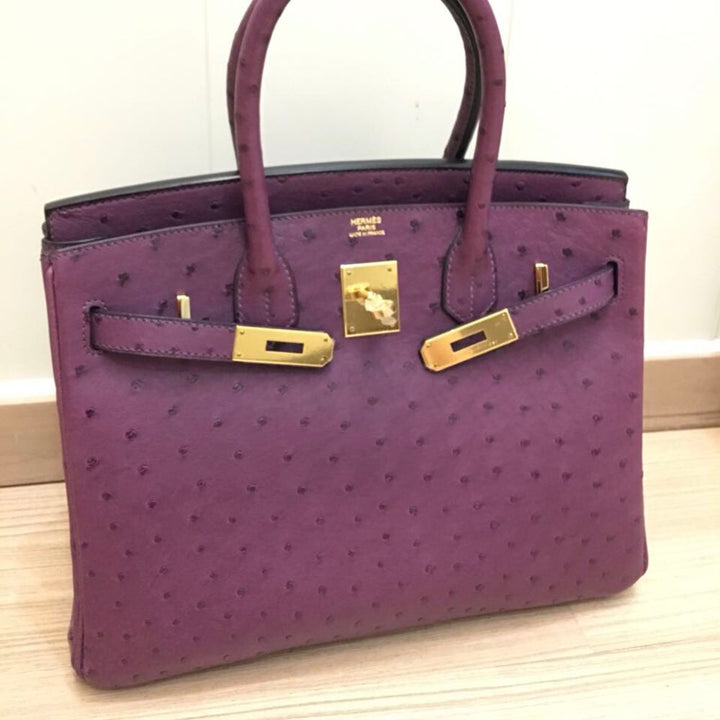Hermès Birkin 30 Violet Ostrich Gold Hardware GHW Q Stamp 2012 <!29468124> <!SOLD> <!SOLD> - The French Hunter