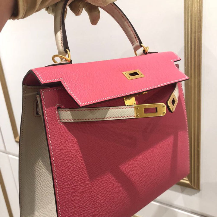 Hermès Kelly HSS 25 Rose Azalee/Craie Sellier Epsom Brushed Gold Hardware BGHW C Stamp 2018 <!29468193> <!SOLD> - The French Hunter